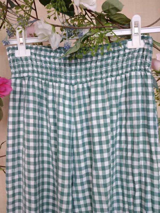 pantalón vichy con cintura fruncida